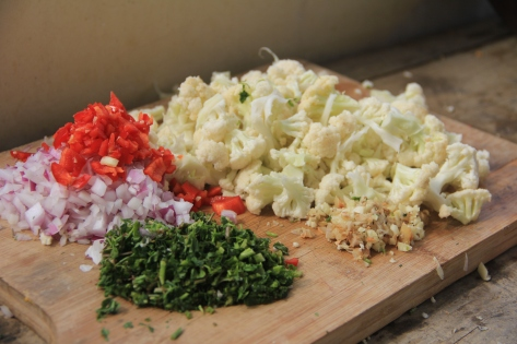 The goods: onions, red peppers, cilantro, cauliflower, ginger, garlic